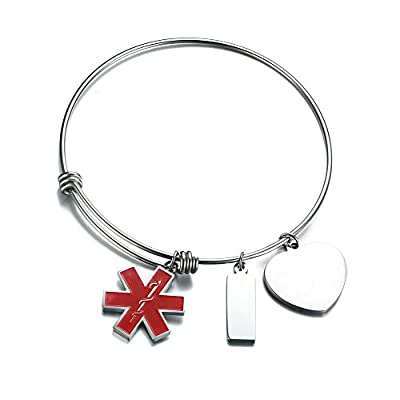 Hot XUANPAI Free-Engraving Stainless Steel Medical Alert ID Expandable Charm Bracelet for Women Girls
