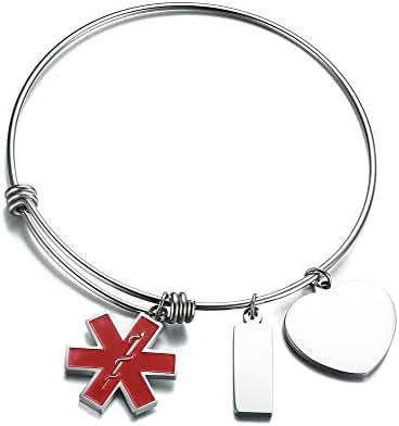 VNOX Free Engraving Stainless Steel Medical Alert ID Charms Expandable Adjustable Bangle Bracelet for Women Girl