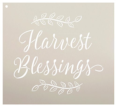 Harvest Blessings Stencil by StudioR12 | Reusable Mylar Template | Fall Country Style - Use to Paint Wood Signs - Rustic Wall Art - Pallets - Pillows - DIY Home Decor - Select Size (11