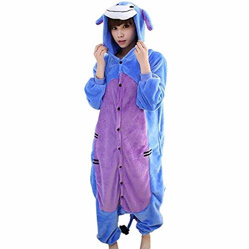 Unisex Animales De Dibujos Animados Para Adultos Kigurumi Calido Pijamas Suaves Ropa De Dormir Cosplay Burro Azul