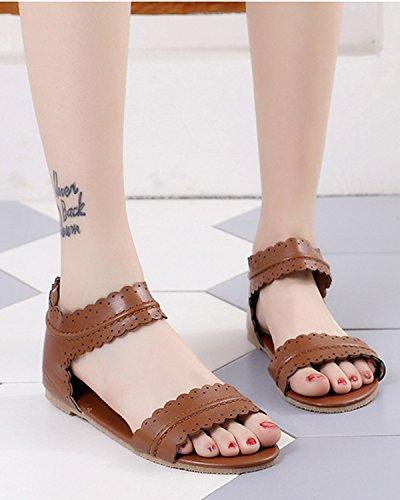 Fiori Shoes Caffè Donna Spiaggia Sandals A Eleganti Retrò Minetom Sandali Romani Scarpe Toe Casuale Peep Tacco Estivi Basso qx7ATCw