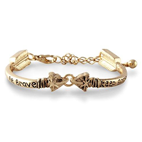 Goldtone Inspirational Be Brave Keep Going Arrow Bracelet with Extender