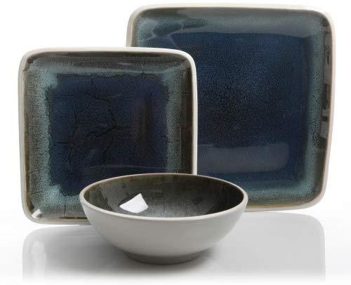 12RM Namastay 12-Piece Reactive Glaze Dinnerware Set Service for 4, Blue ()