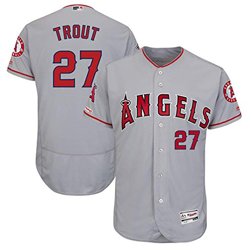 (Men's #27_Mike_Trout_Los_Angeles_Angels_Road Gray Flex Base Authentic Collection Player Jersey)