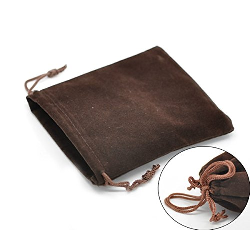 Coffee Velvet Drawstring Pouches Jewelry Gift Bags 10pcs,12x10cm(4-3/4