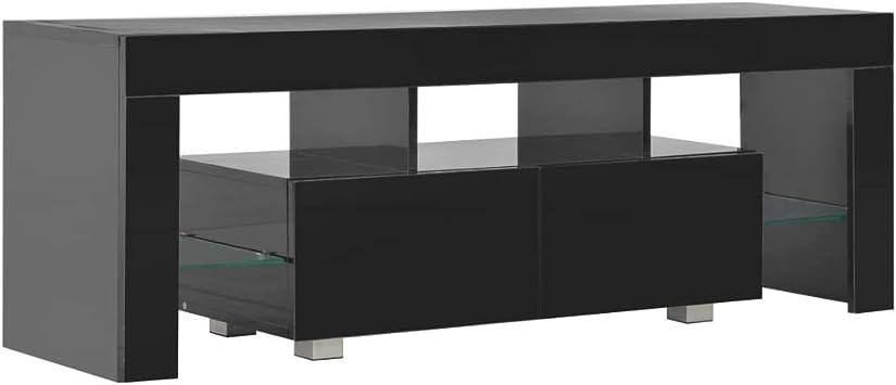 vidaXL Mueble TV Luz LED Diseño Moderno 2 Cajones + Estantes Módulo Luces Televisión Aparador Mesa Baja Televisor Mueble Salón Comedor Negro Brillo: Amazon.es: Electrónica