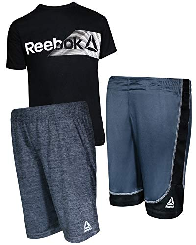Reebok Boys\' 3 Piece Performance Sports T-Shirt and Short Set, Black/Grey, Size 4'