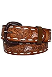 Western Express Men's Leather Belt Horse & Floral Brown