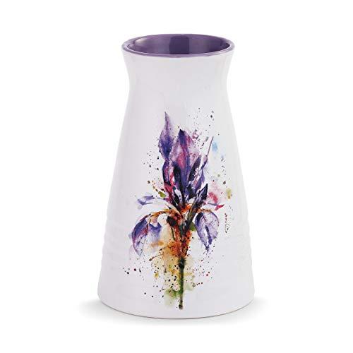 DEMDACO Dean Crouser Iris Blooming Flower Watercolor Purple 7 x 5 Glossy Ceramic Stoneware Vase