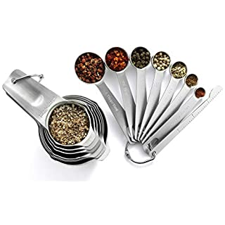 Spring Chef Measuring Cups and Spoons Set Stainless Steel - Kitchen Gadgets Tools & Utensils for Cooking & Baking - 15 piece Set of Baking Spoons and Cups with Leveler
