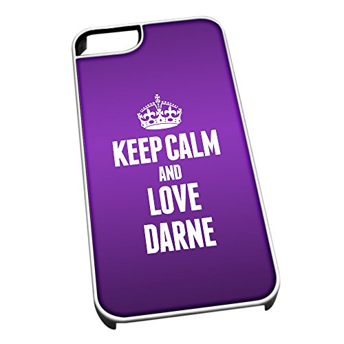 Bianco cover per iPhone 5/5S 1036 viola Keep Calm and Love Darne