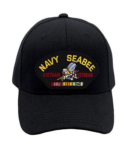 5664a9ff2dc2d Patchtown US Navy Seabee - Vietnam War Veteran Hat Ballcap (Black)  Adjustable One