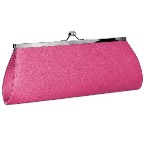 CASPAR Womens Classic Satin Clutch / Evening Bag with Elegant Metal Clasp - many colours - TA309 Pink