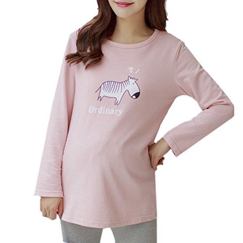 Laixing Maternity Long Sleeve Fashion Korean Style La mujer embarazada Women Bottoming Shirt Top Pink