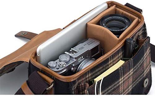 Herringbone Camera Bag Canvas Shoulder Bag DSLR Case Messenger Bag Shockproof Insert SLR Gadget Bag for Nikon Sony Canon Olympus Papas Pocket Mini H0776 Checkblack