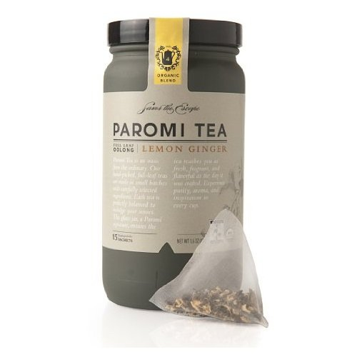 PAROMI TEA Oolong Lemon Ginger Tea, Full-Leaf, 15 Sachets in 1.6 oz Bottle