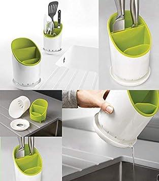takestop cubertero 4 Compartimentos Compartimentos de plástico cuela Agua Cola portacubiertos escurridor de Cubiertos Contenedor Protección Cuchillos ...