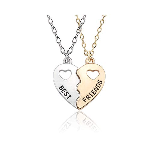LONAGO Personalized Couple Name Necklace Matching Set Custom Engraved His and Hers Broken 2 Half Piece Heart Pendant Sterling Silver Two-Tone Puzzle for 2 (Two Tone Cut Out Heart Necklaces)