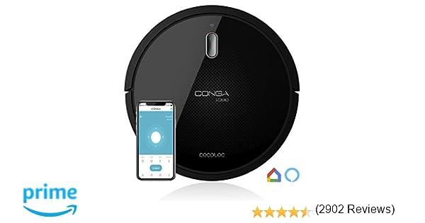 Cecotec Robot Aspirador Conga Serie 1090 Connected. con App, Compatible con Alexa y Google Home con Cepillo Especial Mascotas, Muro magnético, 1400 Pa ...