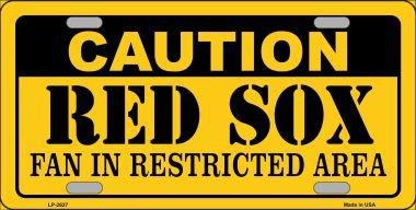 Smart Blonde LP-2627 Caution Red Sox Fan Metal Novelty License Plate - Sox Metal
