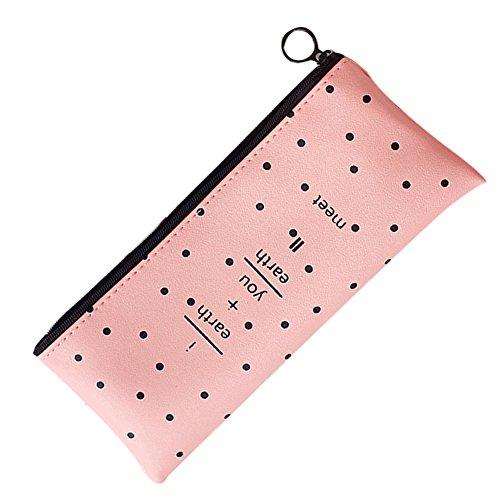DaoRier PU-Leder einfache Mode wasserdicht Reißverschluss-Etui Federmäppchen Pen Tasche Kosmetische Make-up-Tasche Rosa Wellenpunkt#1