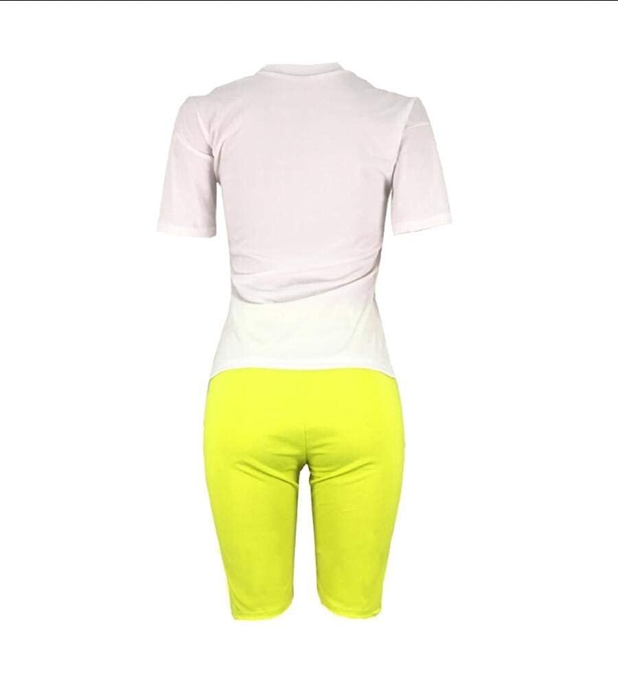 Comaba Womens Casual Work Floral Fashion Slim Fit T Shirts Shorts Outfits