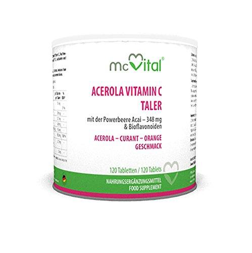 Acerola Vitamin C Taler - Plus Acai und Bioflavonoiden - Mit Abnehm-Effekt - 120 Tabletten - 240 g