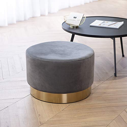 Art-Leon Low Round Velvet Upholstered with Gold Plating Base Ottoman, Footstool Extra Seat for Living Room, Bedroom, ()