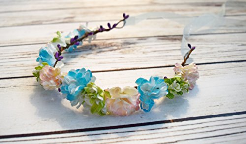 Handcrafted Glitter Blue Blush and Lime Green Flower Crown - Flower Girl Halo - Adult Flower Crown - Renaissance Flower Crown - Woodland Halo