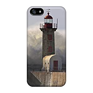 Awesome Design Huge Wave Crashing Over Lighthouse Hard Case Cover For Iphone 5/5s