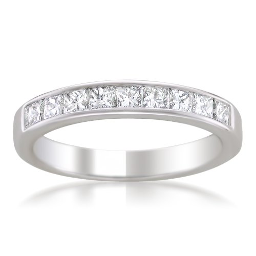 - 14k White Gold Princess-Cut Diamond Wedding Band (1cttw, H-I Color, SI2-I1 Clarity), Size 6