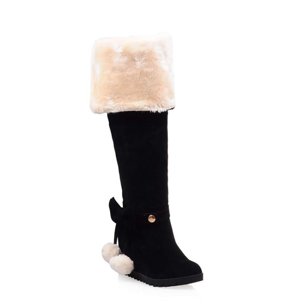 HY Damen Hohe Stiefel Wildleder Herbst/Winter Plus Kaschmir Overknee Stiefel/Ladies Inside Erhöhen Große Schneeschuhe Stiefel (Farbe : C, Größe : 43)