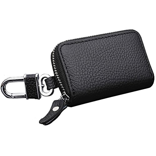 Car Key Chain Bag Key Chains Genuine Leather Smart KeyChain Coin Holder Case Cover Pouch Remote Fob Bag Keyring Wallet Zipper Case Black