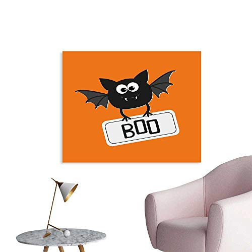 J Chief Sky Halloween Art Stickers Cute Funny Bat with Plate Boo Fangs Scare Frighten Seasonal Cartoon Print Wall Decals for Kids Living Room W24 xL20]()