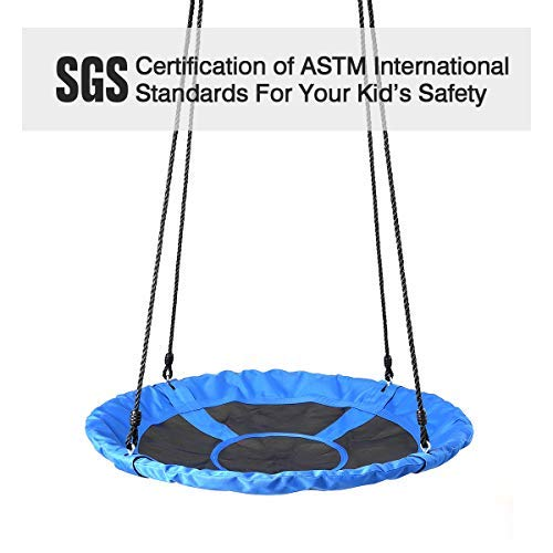 Saucer Tree Swing, 39'' Children Steel Frame Waterproof Adjustable Rope Easy Installation Saucer Swing for Kids, Outdoor for Fun, Blue by BOCCA (Image #3)
