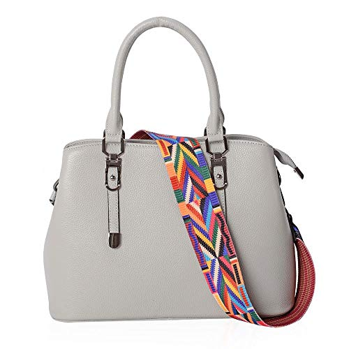 Removable Zipper Shoulder Bag Pocket External Colour Strap With Tote Grey a0gUw