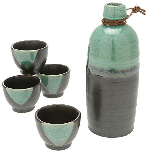Kotobuki Sake Set Satin Black and Green - Junmai Daiginjo Sake