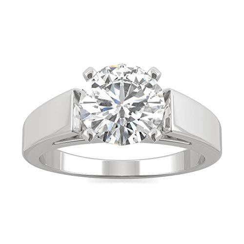 (14K White Gold Moissanite by Charles & Colvard 8mm Round Engagement Ring-size 6, 1.90ct DEW)