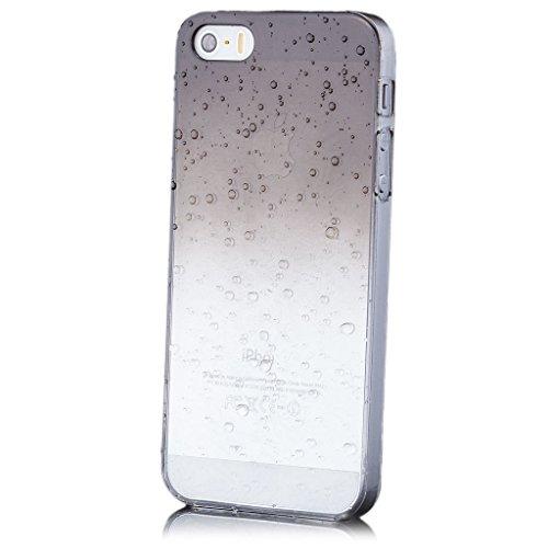 Apple iPhone SE / 5S / 5 | iCues cas de goutte d'eau noire | [Protecteur d'écran, y compris] protecteur de feuille transparente Temps clair de protection Housse de protection Couverture Coque Housse S