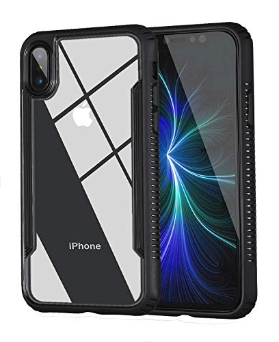 Tesson Ultra Hybrid Apple iPhone X Case, Clear Hybrid Case,Thin Tempered Glass Back Cover Soft TPU Bumper Frame,Shock-Absorption Bumper Cover, Anti-Scratch Clear Back, HD Clear-Black