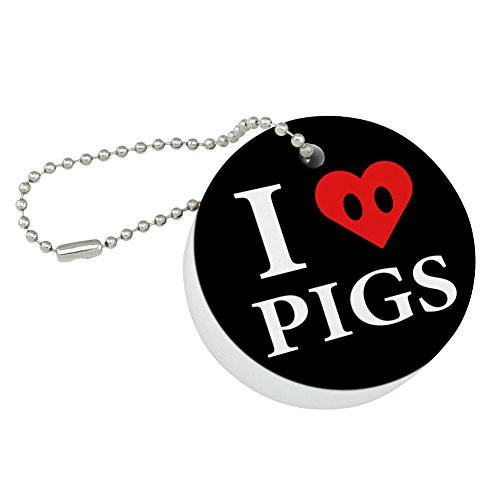 Graphics and More I Love Pigs Heart Snout Round Floating Foam Fishing Boat Buoy Key Float ()