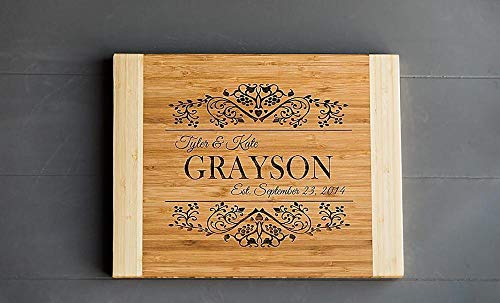 Personalized Gifts Couples Cutting Board - Wood Cutting Boards Bridal Shower, Housewarming, and Wedding Gifts (11 x 14 Two Tone Bamboo Rectangular, Grayson Design)