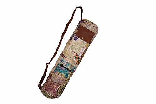 Yoga Bag- NATURAL Vintage Gypsy Hand-stitched Traditional Banjara Sling with Leather Strap