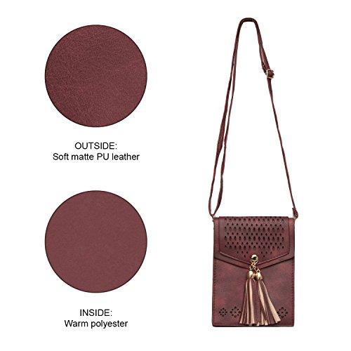 Tribal Burgundy Cute Purse K OLIVIA Crossbody Soft Casual Bags Tassel Mini Vintage Pouch Womens Wallet w1EIES6x