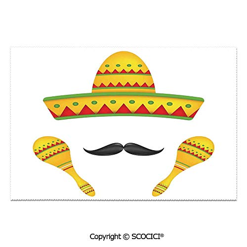SCOCICI Set of 6 Heat Resistant Non-Slip Table Mats Placemats Famous Centerpiece Icons Sombrero Moustache Rumba Shaker Mesoamerican Image for Dining Kitchen Table Decor]()