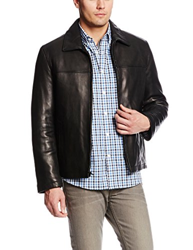 Tommy Hilfiger Men's Open Bottom Classic Leather Jacket, Black, Small