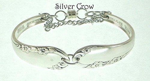 Silverware Bracelet Vintage Chased Rose Pattern Silverplate