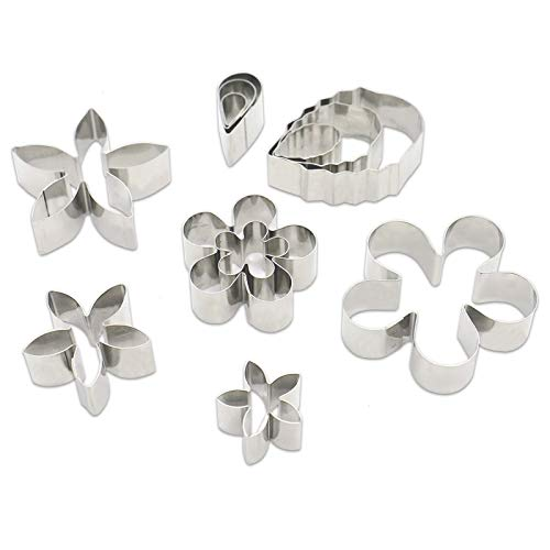 Timoo 12 PCS Mini Stainless Steel Cookie Cutter Mold Kit, Flower and Leaf Shape Fondant Cake Cutter Mold for Baking, Homemade Treats