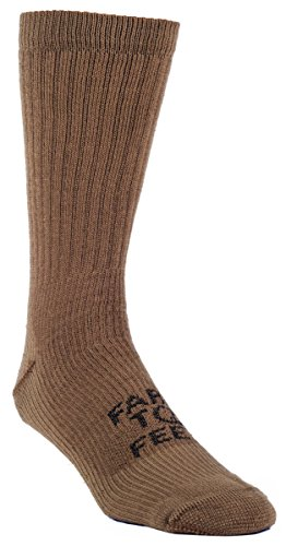 Farm 2 Feet Columbus - Traditional Medium Weight Boot Sock Tactical comes with a Helicase sock ring; Size: M - Coyote - American Shoes Soldier