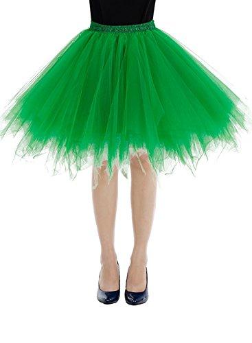 Bbonlinedress Women's Mini Vintage Patticoat Tutu Three-Layer Multicolor Bubble Skirt Green (Cheap Tutus)